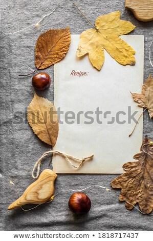 édes csendélet dekoráció bőr levél zsákvászon Stock fotó © olandsfokus
