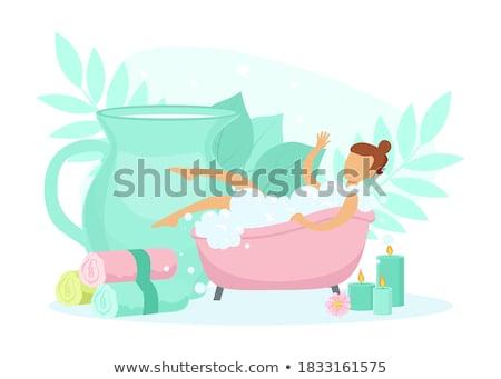 Fille up portrait salle de bain Homme Photo stock © gemenacom