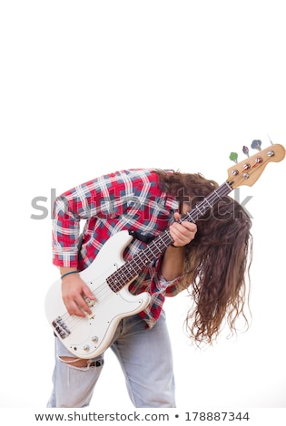 man in red shirt with tousled hair playing electric bass guitar Stock photo © feelphotoart