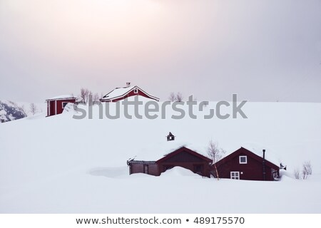 Lone Building Covered in Snow and Mountains stock photo © jameswheeler