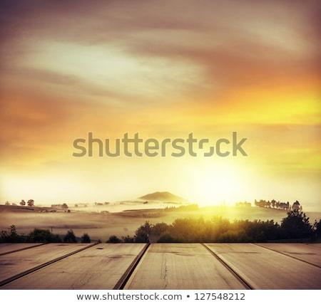 Foto stock: Montana · luz · del · sol · nubes · vista · esquí