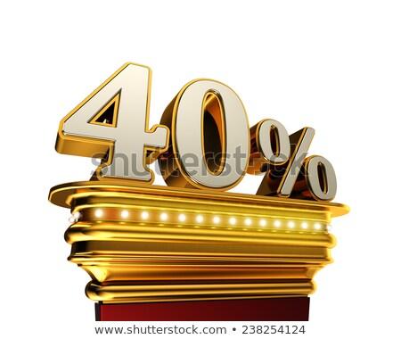 Czterdzieści procent rysunku biały złoty Zdjęcia stock © creisinger