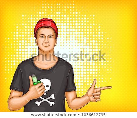 Expressivo homem bonito cara tecnologia fumar Foto stock © HASLOO