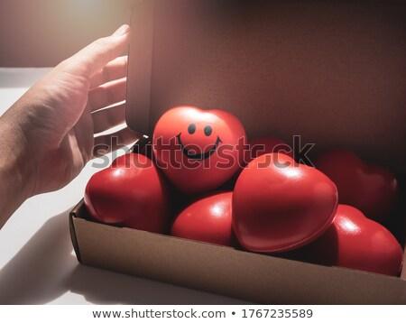 Rouge coeur coffret cadeau amoureux Photo stock © tamasvargyasi