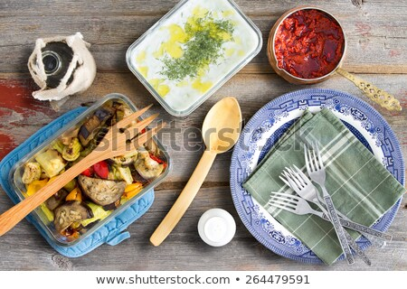Grilled veggies, tzatziki, cacik and pepper paste Stock photo © ozgur