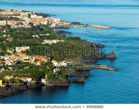 ストックフォト: 崖 · イタリア · 海景 · ビーチ · 市 · 自然