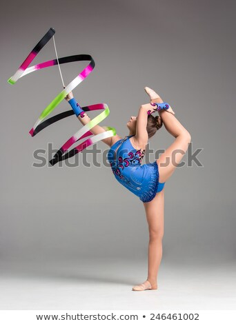 teenager doing gymnastics dance with ribbon Stock photo © master1305