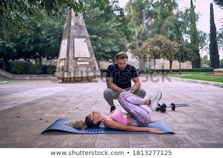 Personal trainer çalışma müşteri egzersiz spor vücut Stok fotoğraf © wavebreak_media