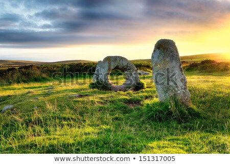 men an tol megalithic stones in cornwall england stock photo © latent