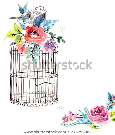 watercolor flowers and bird cage stock photo © elmiko