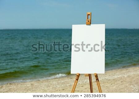 Festőállvány vászon tengerpart művészi napos nyár Stock fotó © stevanovicigor