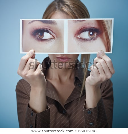 businesswoman with big squint-eyes stock photo © diego_cervo