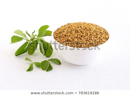 front view of bowl of organic fenugreek stock photo © ziprashantzi