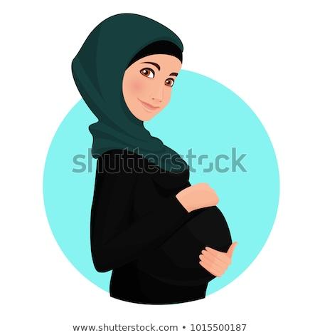 grávida · menina · em · pé · flores · feliz - foto stock © deandrobot