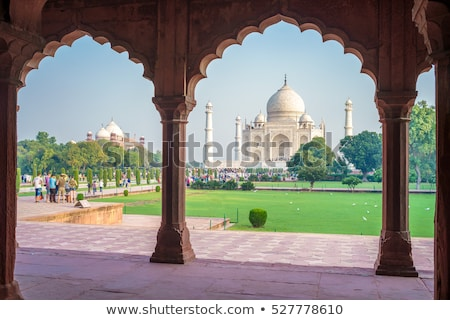 facade of a mausoleum taj mahal agra uttar pradesh india stock photo © imagedb
