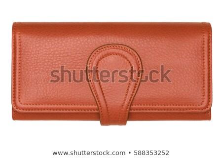 женщину коричневый кошелька бумажник изолированный белый Сток-фото © tetkoren