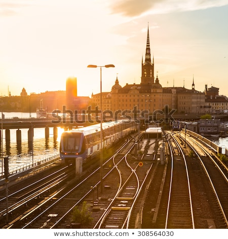 railway tracks and trains in stockholm sweden stock photo © kasto