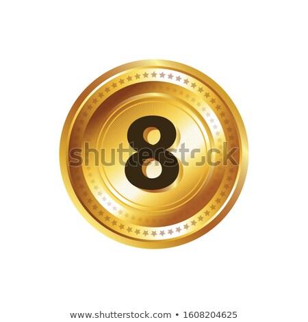 8 number circular vector gold web icon button stock photo © rizwanali3d