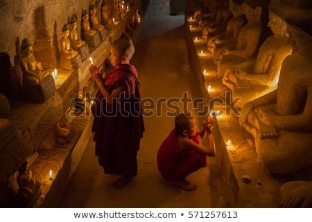 Piccolo buddha Myanmar pagoda finestra asian Foto d'archivio © smithore