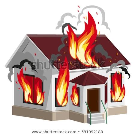 White stone house burns. Property insurance against fire. Home insurance Stock photo © orensila