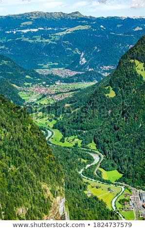 Légifelvétel Alpok folyó magas természet tájkép Stock fotó © marekusz