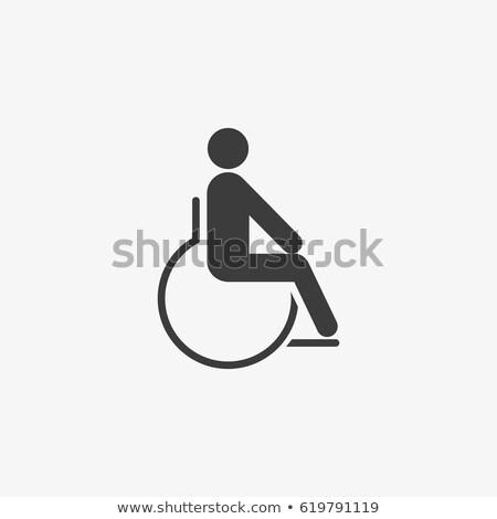 Noir icône handicapées personne fauteuil roulant monde Photo stock © orensila