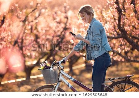 Csinos fiatal nő mező zöld fű nő virág Stock fotó © vapi