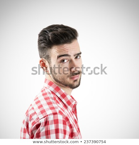 portrait of handsome male in plaid shirt with raised eyebrow stock photo © deandrobot
