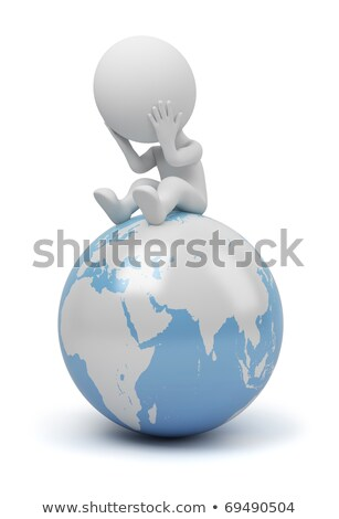 Stock photo: 3d small people - global question