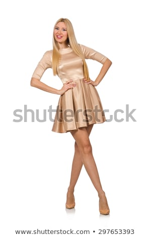 Stock photo: Pretty girl in satin mini dress isolated on white