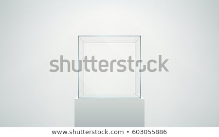 Stok fotoğraf: Empty Glass Showcase For Exhibit Isolated
