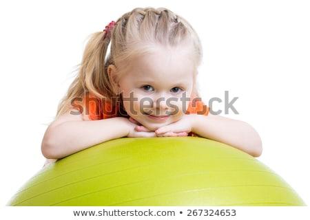 Tornász lány szőke nő sportruha kék fehér Stock fotó © bezikus