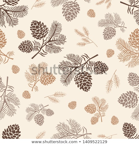 vector illustration seamless pattern with pinecone branch pine cone wood nature stock photo © hermione
