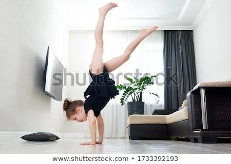 gyerek · lány · ritmikus · torna · fehér · tánc - stock fotó © o_lypa