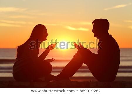 çift · sevmek · yaz · eğlence · plaj · müzik - stok fotoğraf © deandrobot