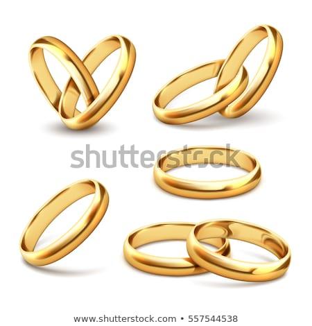 coração · anéis · de · casamento · branco · 3D · imagem · amor - foto stock © iserg