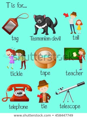 T betű telefon illusztráció háttér művészet oktatás Stock fotó © bluering