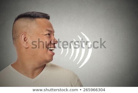 Oldal profil jóképű férfi nyitott szájjal beszél énekel Stock fotó © ichiosea