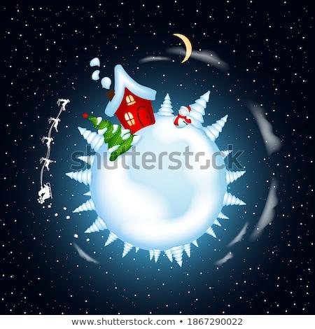 snowman stars night wood Stock photo © romvo