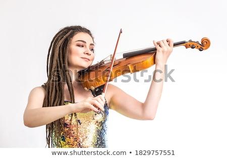fiatal · zenész · hegedű · izolált · fehér · zene - stock fotó © elnur