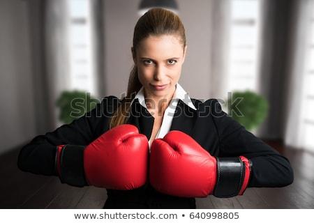 üzletasszony verekedés boxkesztyűk izolált fehér üzlet Stock fotó © elwynn