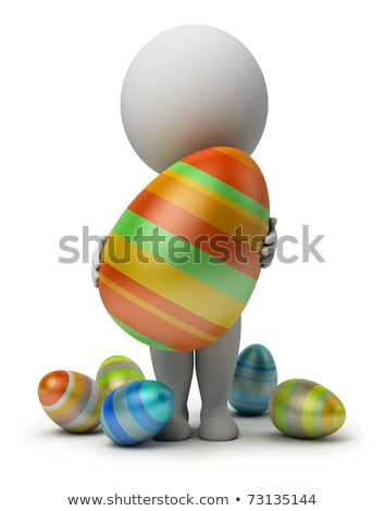 3d small people - holds an Easter egg Stock photo © AnatolyM