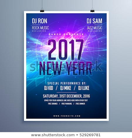happy new year 2017 flyer layout template with abstract glowing stock photo © sarts