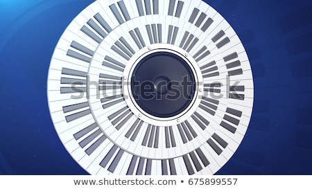 abstract grand piano keys in a circle over an audio monitor stock photo © klss