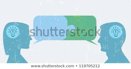 Jigsaw puzzle speech bubbles and people heads Stock photo © adrian_n