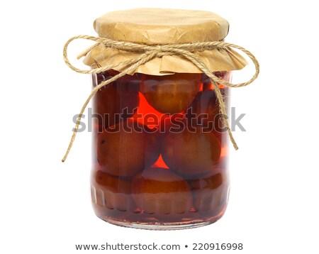 ameixa · jarra · vidro · áspero · mesa · de · madeira · fruto - foto stock © digifoodstock