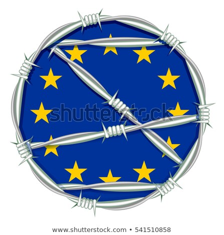 Yellow stars on blue background symbol of European Union behind barbed wire. Migration problem Stock photo © orensila