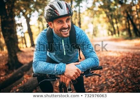 Egészséges kerékpáros egészséges étel férfi út bicikli Stock fotó © Fisher