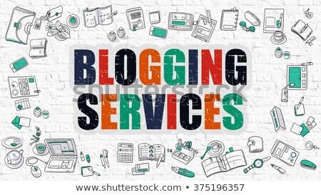 Stock fotó: Blogolás · szolgáltatások · fehér · modern · vonal · stílus