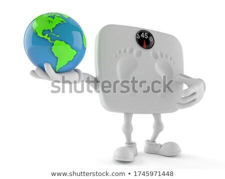 3D Character Balanced on the World Stock photo © make